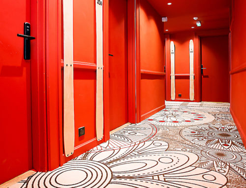 "Colourful custom-made corridor flooring in ""most exuberant hotel in the Alps"""