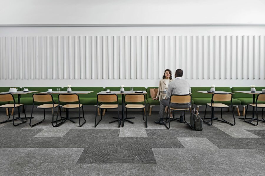 NEW INTERFACE COLLECTION BLENDS CARPET AND LVT TO MIMIC CONCRETE AND TERRAZO FLOORING