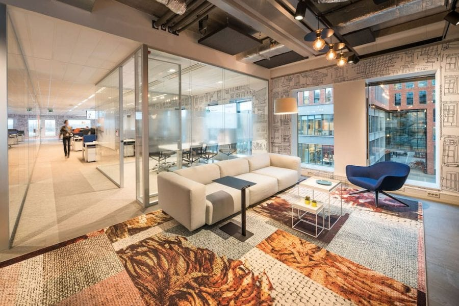 COLOURFUL RUGS BRIGHTEN UP INDUSTRIAL HEAD OFFICE